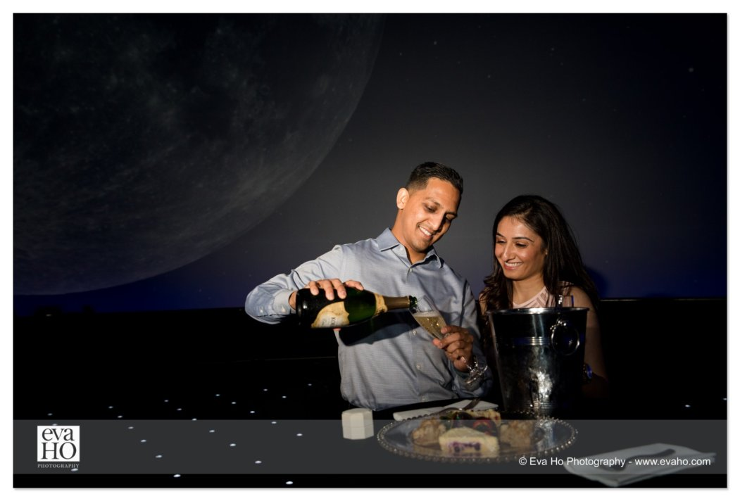 Surprise Proposal at the Grainger Sky Theater in the Adler Planetarium