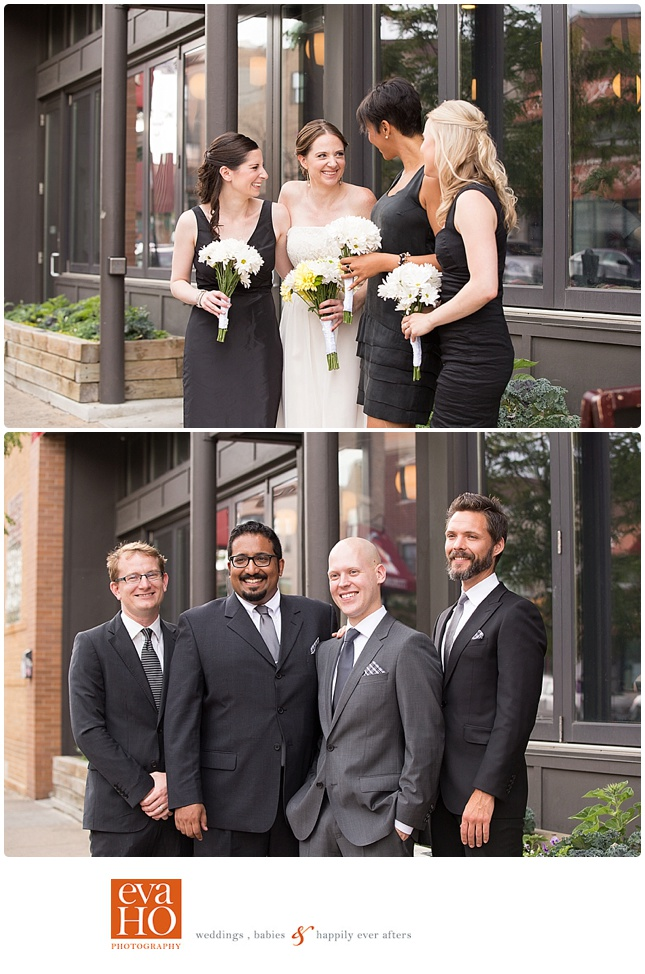 Bridal Party in front of Revolution Brewing Storefront