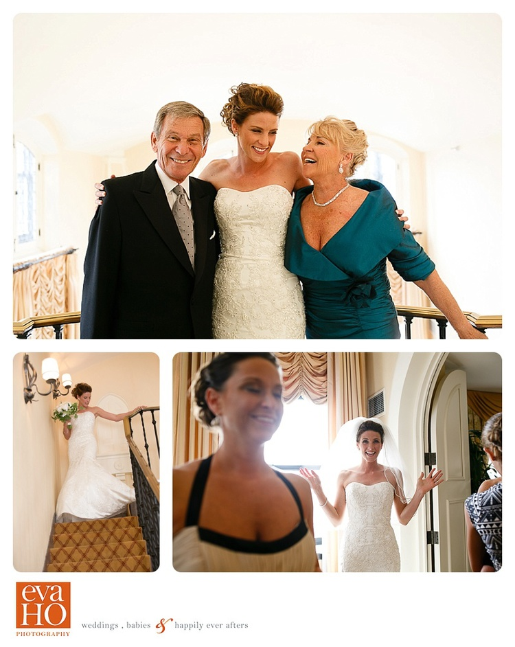 Bride revealing her dress to her parents and bridal party