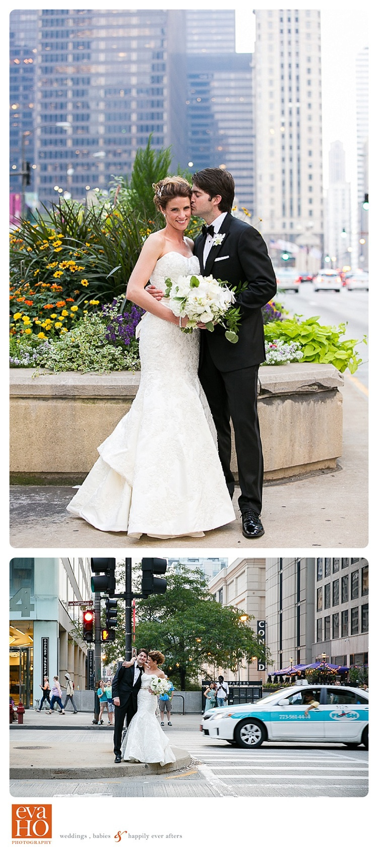 Newly wed take a stroll in downtown Chicago