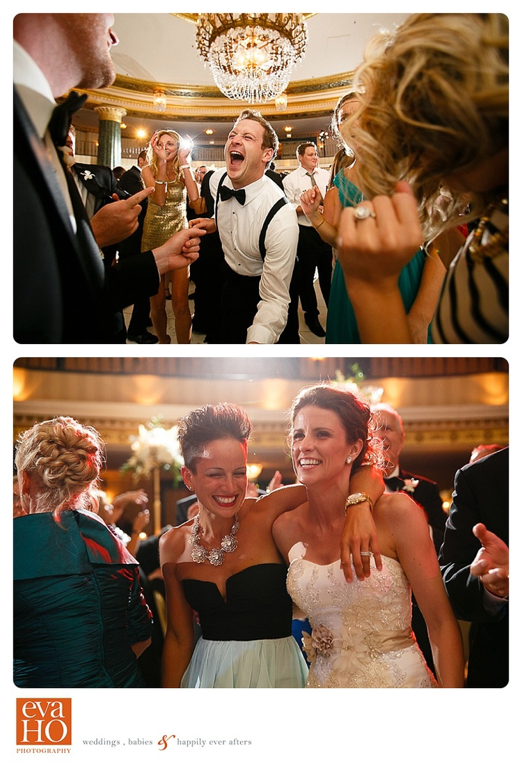 Guests having a good time dancing at a Jewish wedding in downtown Chicago hotel