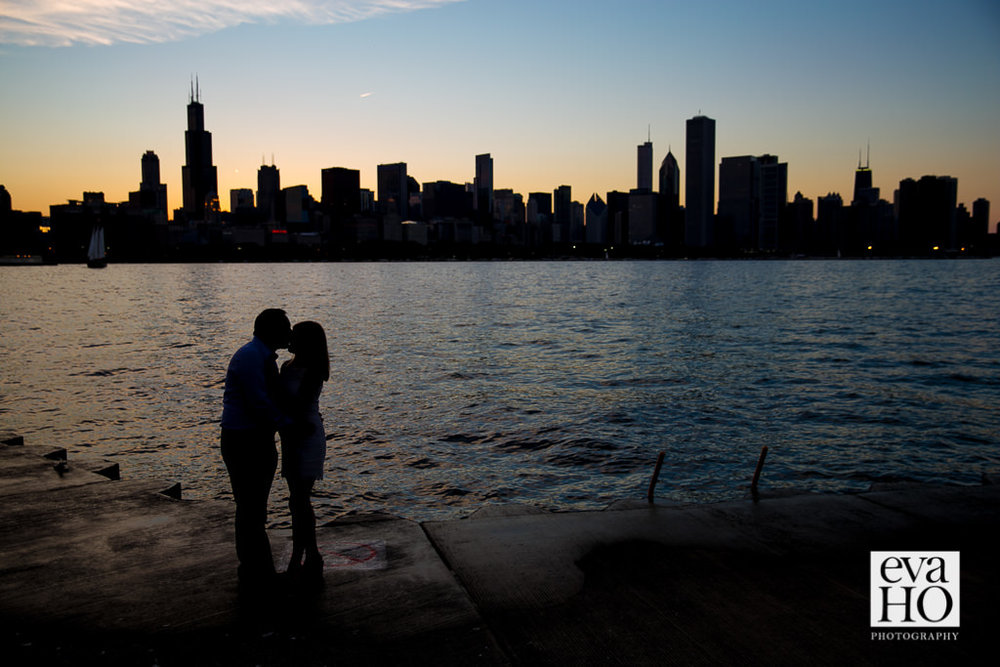 Silhouette of couple with specular Chicago Skyline behind them
