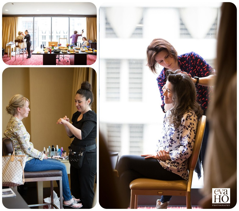 Bride and her bridesmaids are getting ready at a hotel downtown