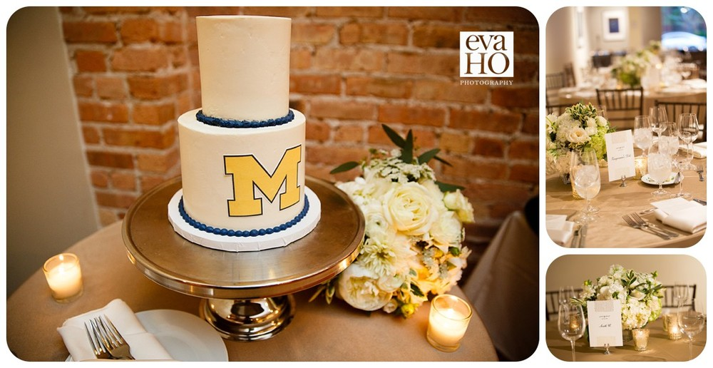 University of Michigan wedding cake and table setting at the Floating World Gallery wedding reception