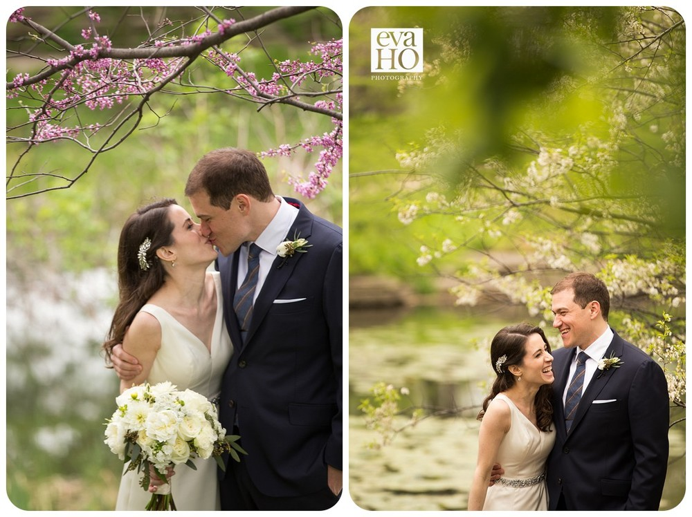 At the Alfred Caldwell LIly Pond, bride and groom spend some quality time alone before tieing the knot.