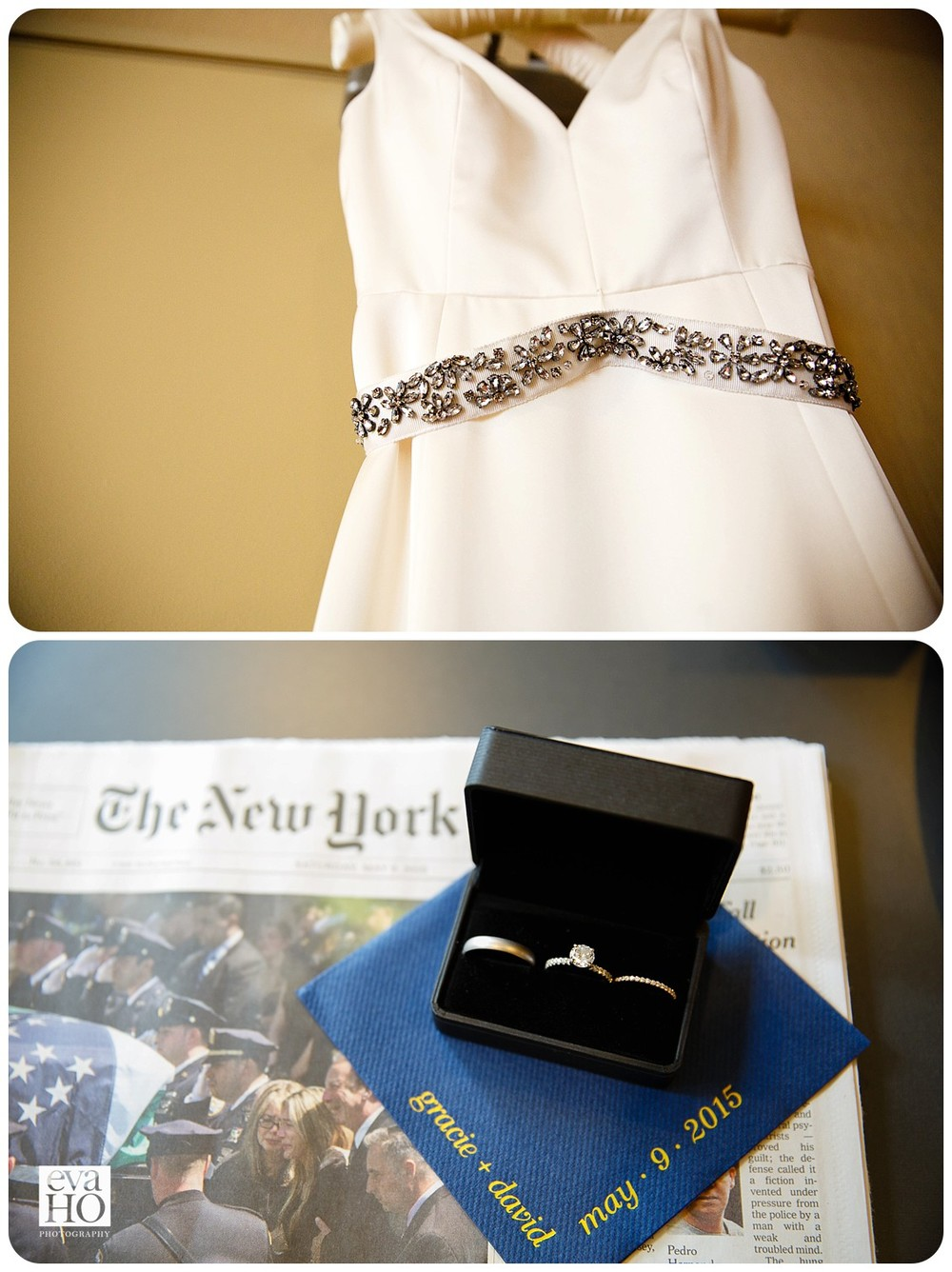 Wedding dress with beautifully beaded belt.  Wedding rings with the New York Times.