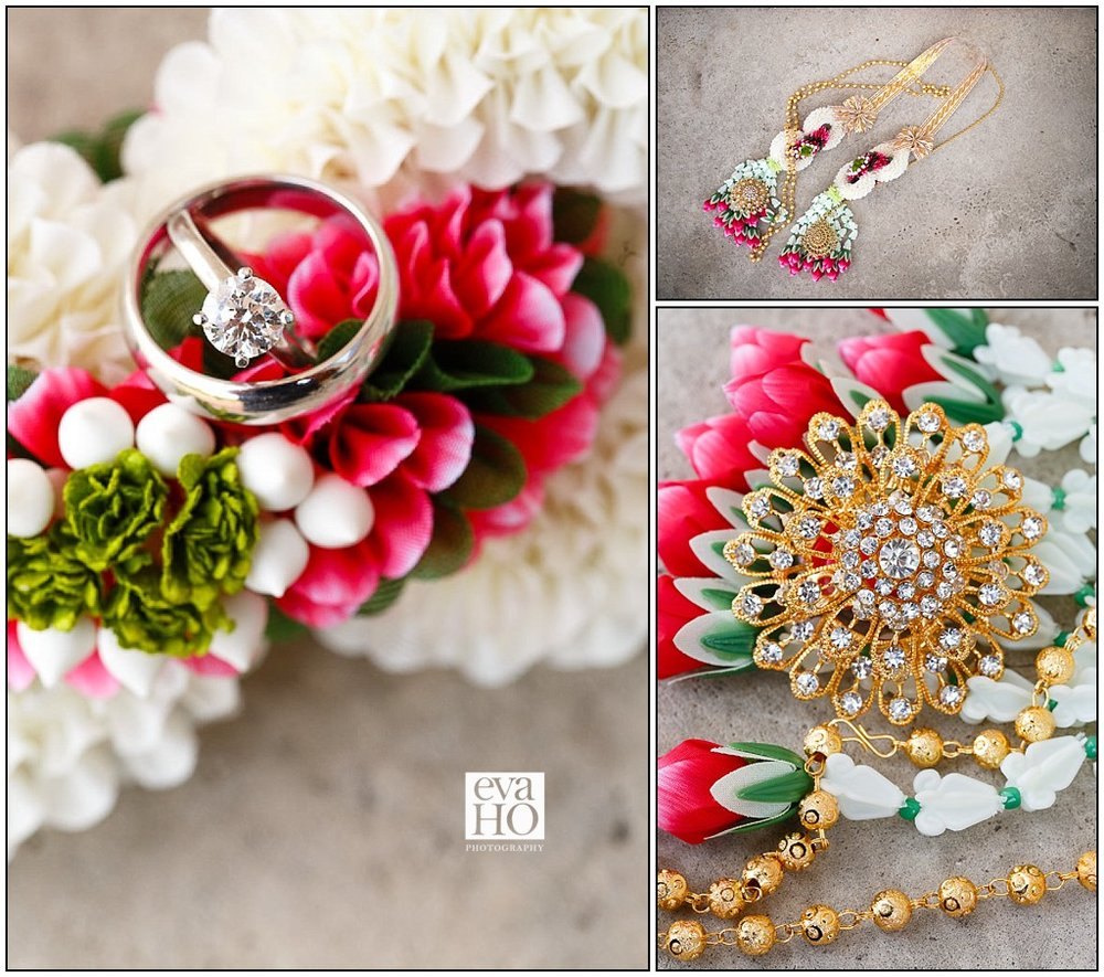 Wedding rings with traditional Thai wedding details