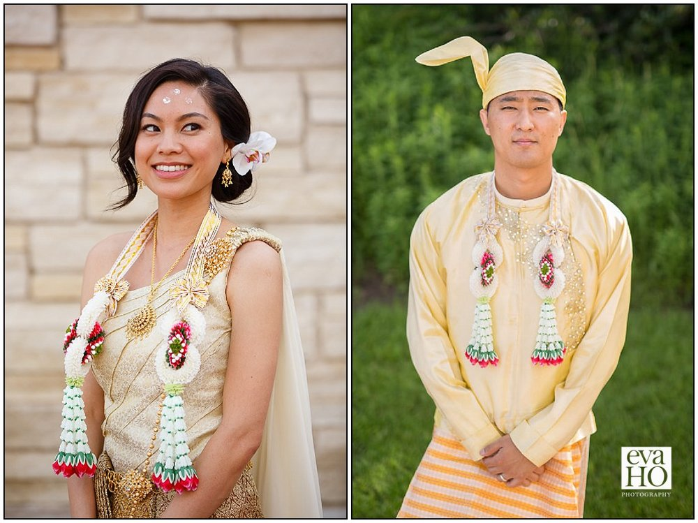 Thai Bride and Bermese Groom in traditional outfits ready for Thai Water Ceremony at Indepence Grove Forest Preserve