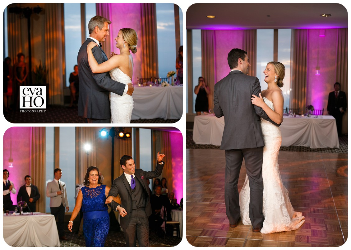 The newlyweds are dancing as husband and wife for the first time and then they danced with their parents