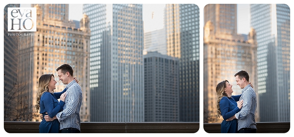 Chicago engagement session in downtown with the cityscape in the background