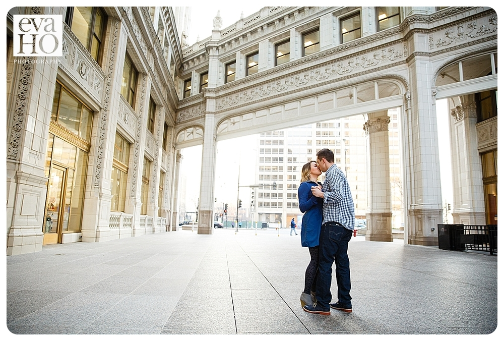 Engagement session downtown Chicago near Michigan Avenue