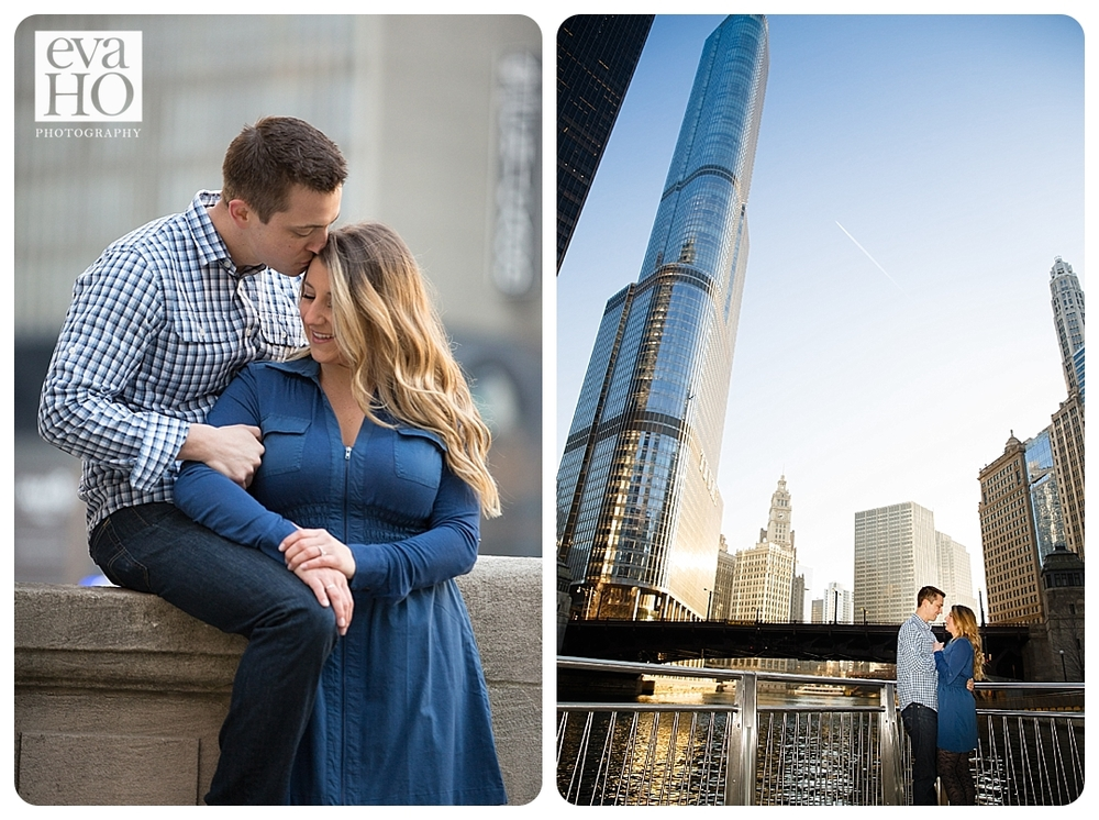 A future bride and groom snuggle and kiss in downtown Chicago during their engagement session