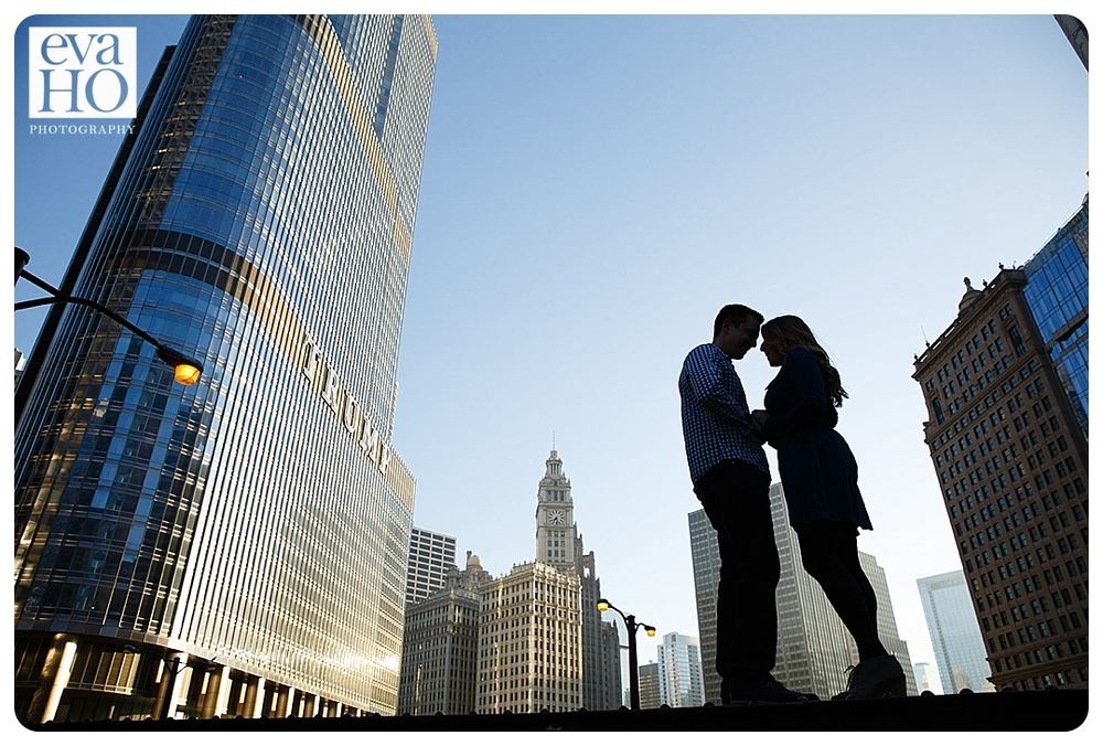 Silhouette shot in downtown Chicago during a portrait session