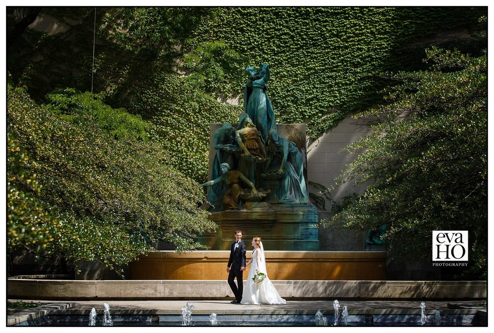 Unity Church of Chicago and Salvatore's Wedding - Art Institute of Chicago South Garden Wedding Portrait