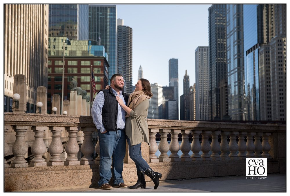 Chicago Downtown Riverwalk Sunrise engagement session