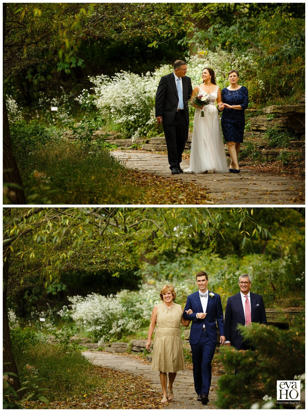 Bride and groom being walking down the aisle by both mother and father