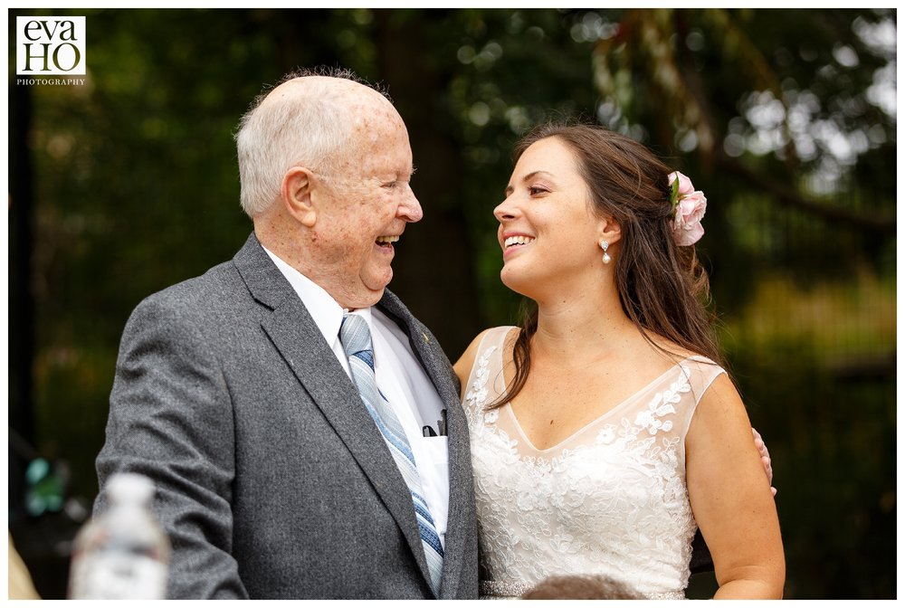 The bride and her grandfather