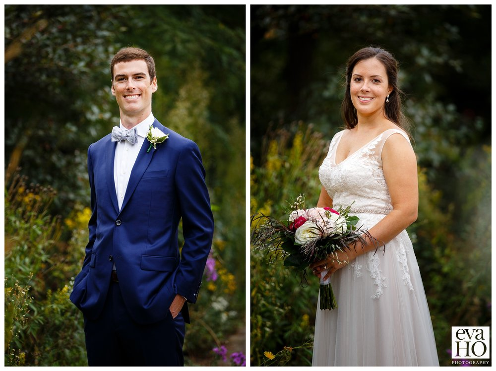 Portraits of the bride and groom