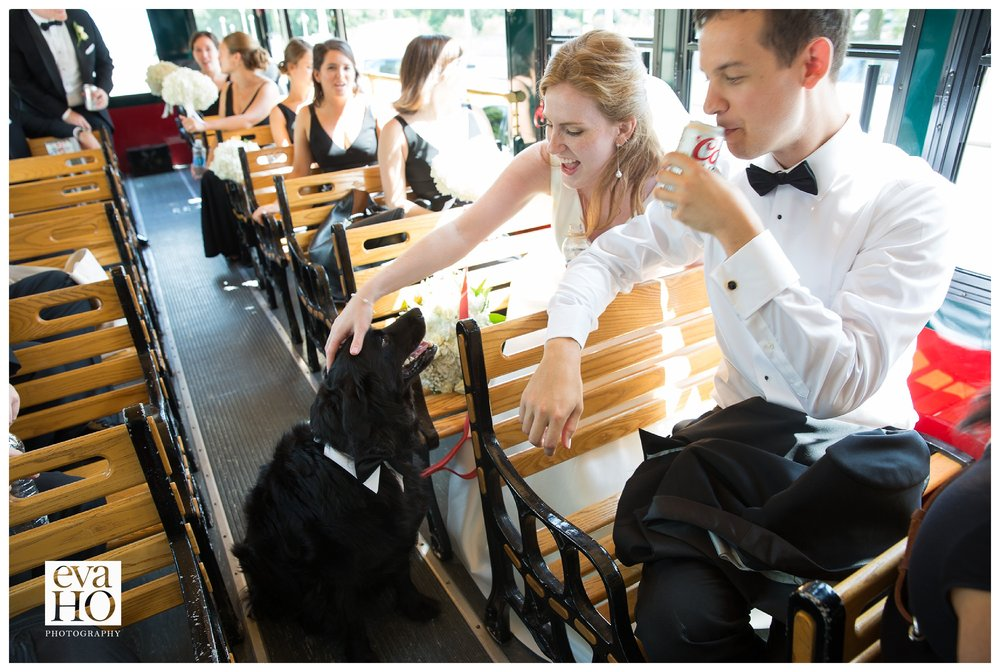 Wedding party trolley ride through the city!