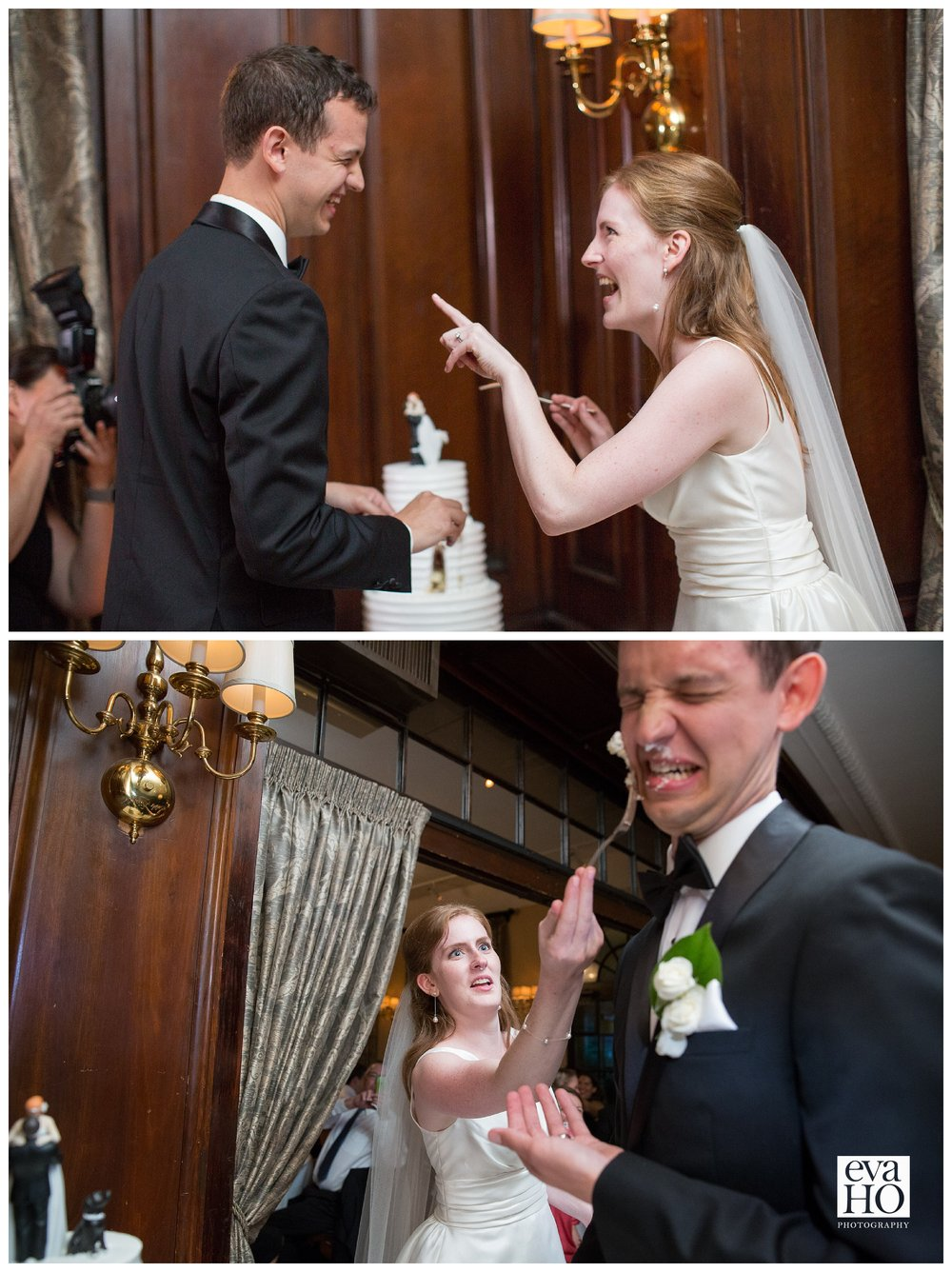 Time to cut the cake...and shove it in the groom's face!