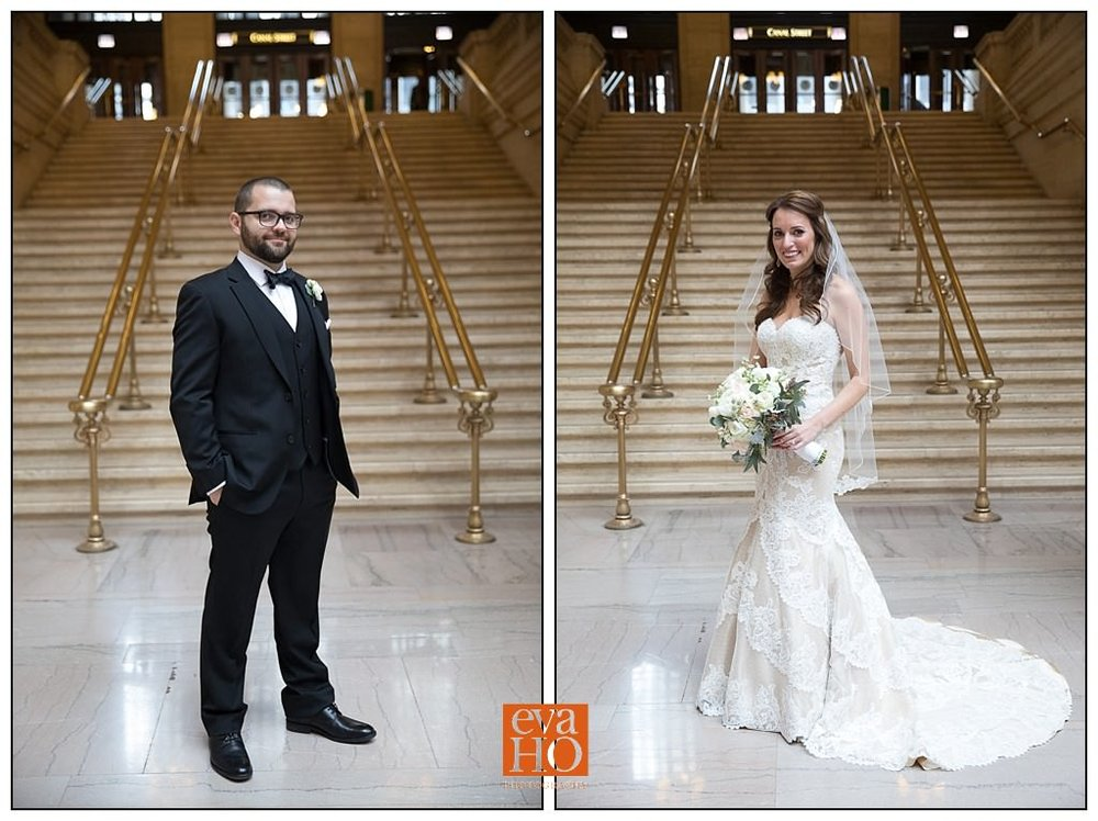 Beautiful portraits of the bride and groom! Union Station is such a fun place to shoot, the grand stair case tall ceilings providing such a gorgeous setting!