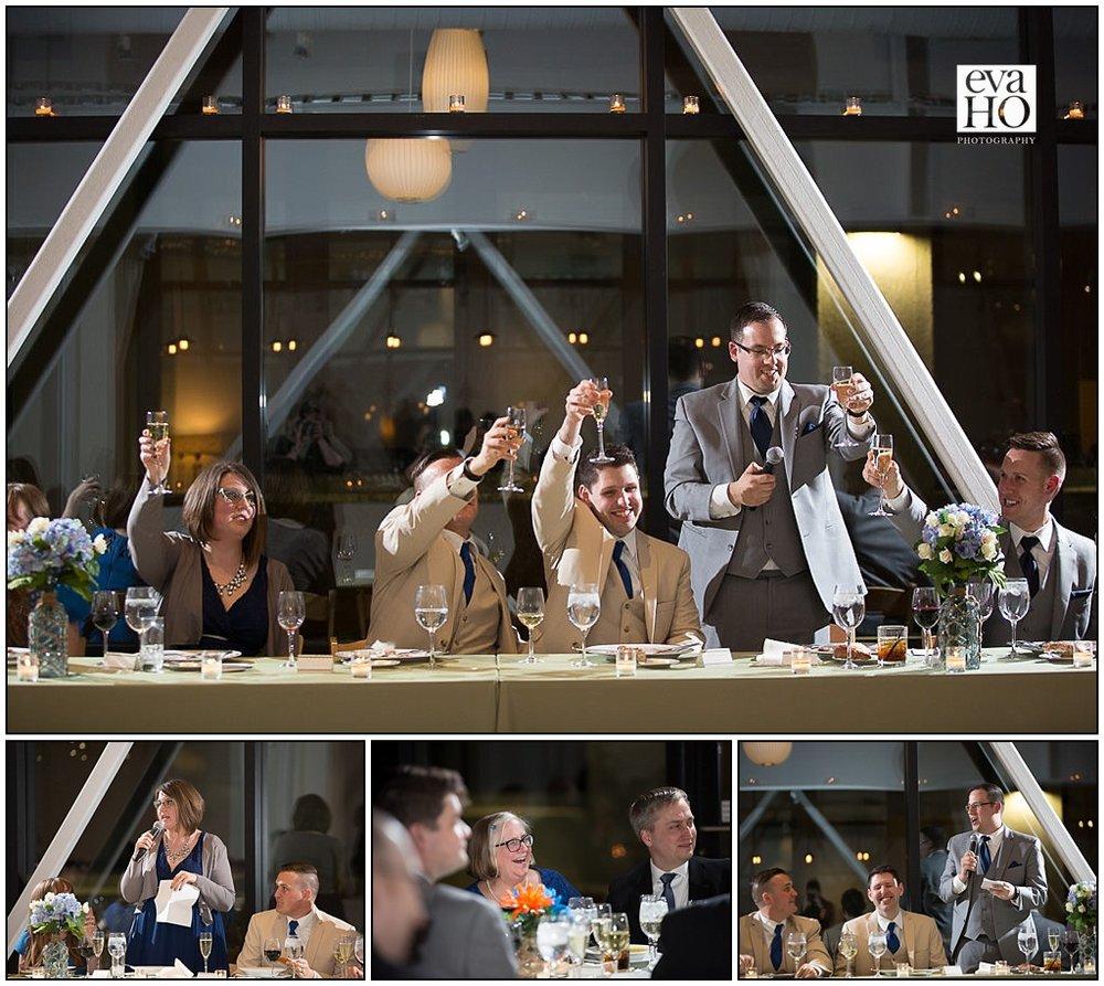 Close friends toast the newlyweds