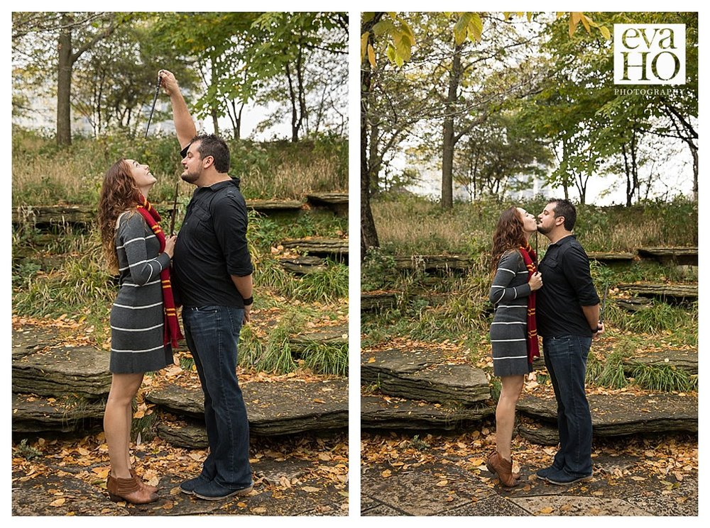The Harry Potter props added such a magical element to this engagement session.