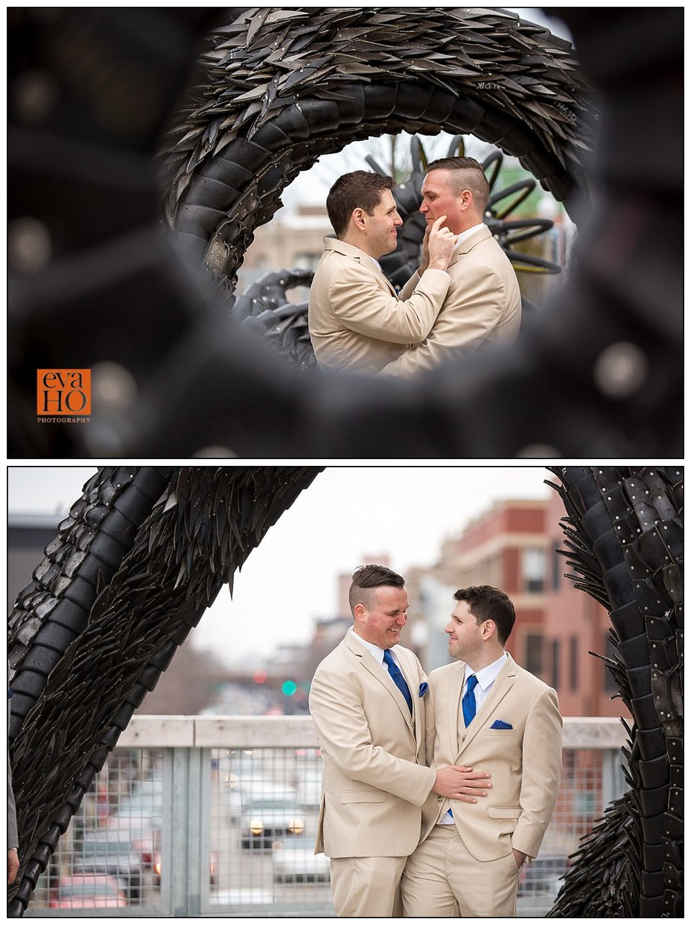The two grooms spending some quality time together before the ceremony