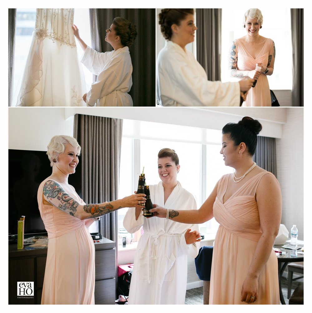 Cheers to the big day! Westin Hotel Wedding Day Preparation