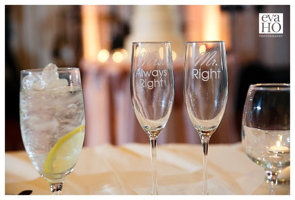 Mr. Right and Mrs. Alway Right...these champagne flutes made me laughing!