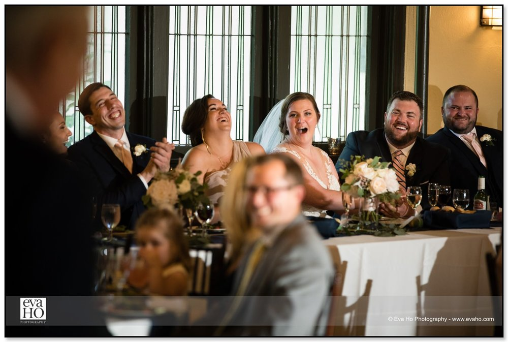 When the father of the bride told the groom that this is the last time he had the upper hand, everyone bursted out laughing.