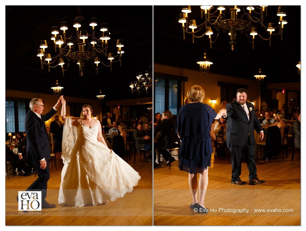 Bride dances with her dad and groom dances with his mom.