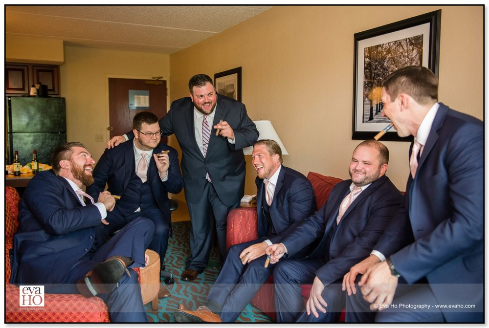 Bob and his groomsmen are having a last-minute cigar before heading to church.