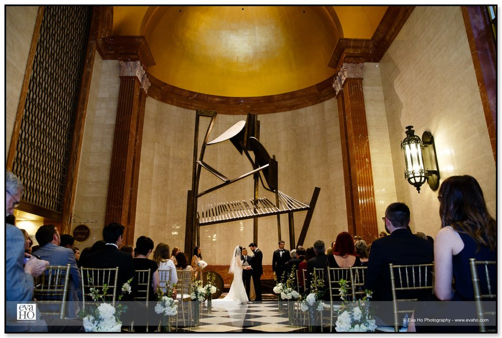 Wedding ceremony at The Lobby under the beautiful scupture