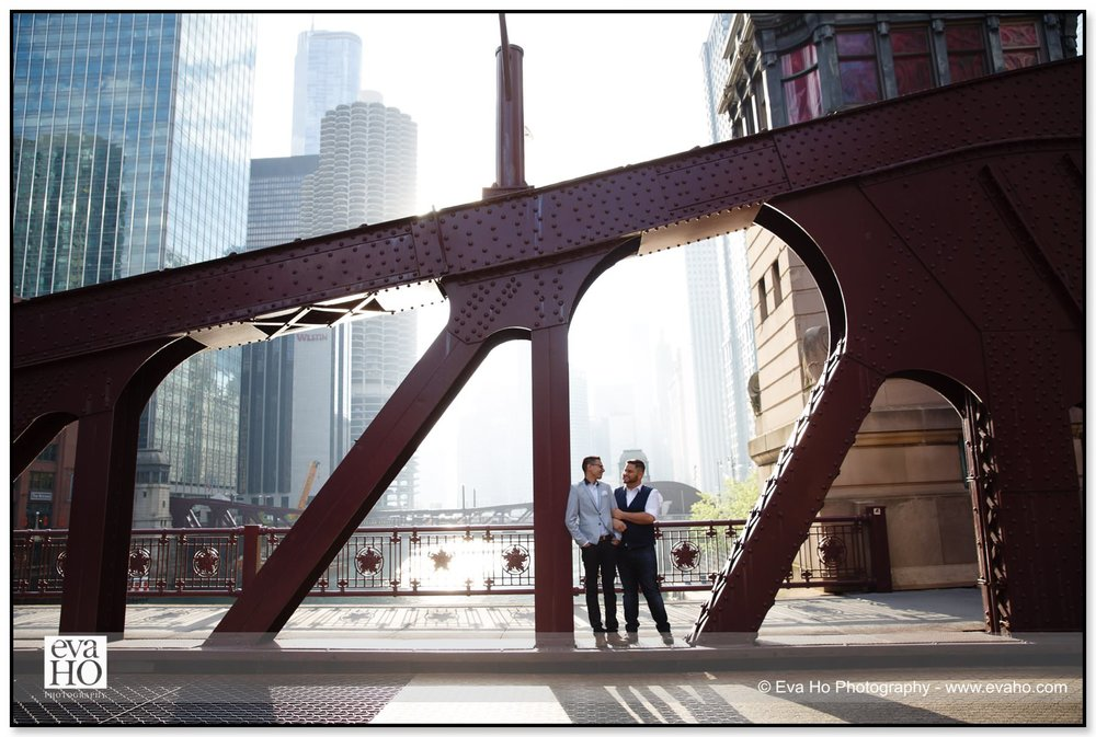 Gay couple on LaSalle Bridge in downtown Chicago
