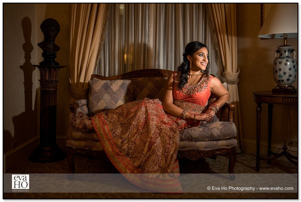 Bridal portraits of a beautiful Indian bride.