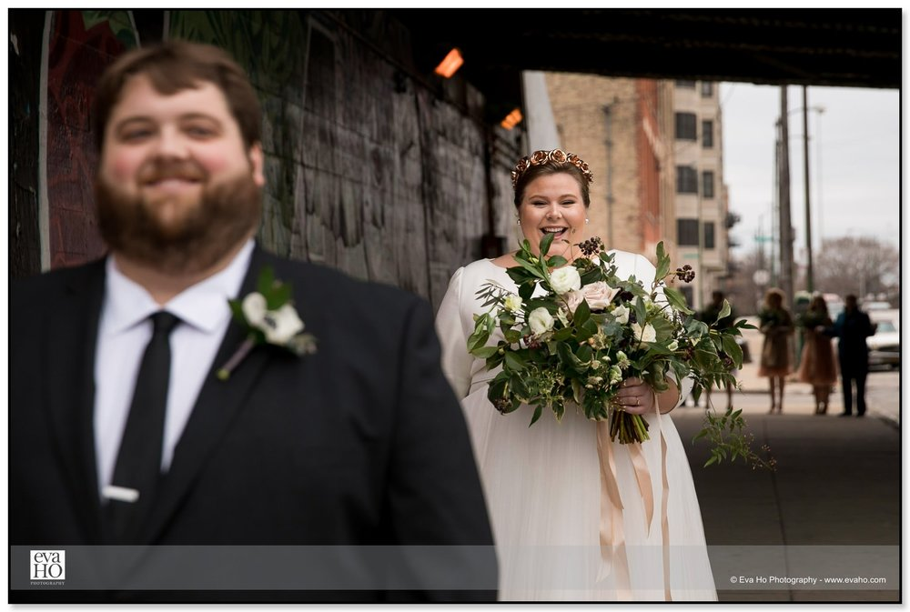 Bride and Groom's first look in Chicago