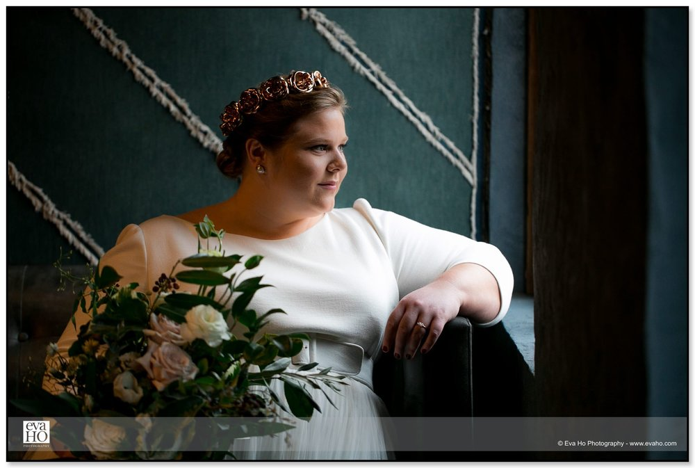 Bridal portrait inside The Dawson using natural lighting