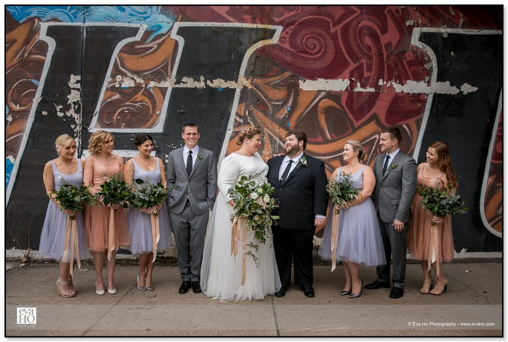 River North Wedding party in purples and peaches