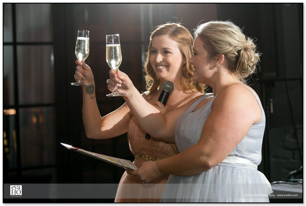 Bridesmaids toasting the bride and groom at The Dawson in Chicago