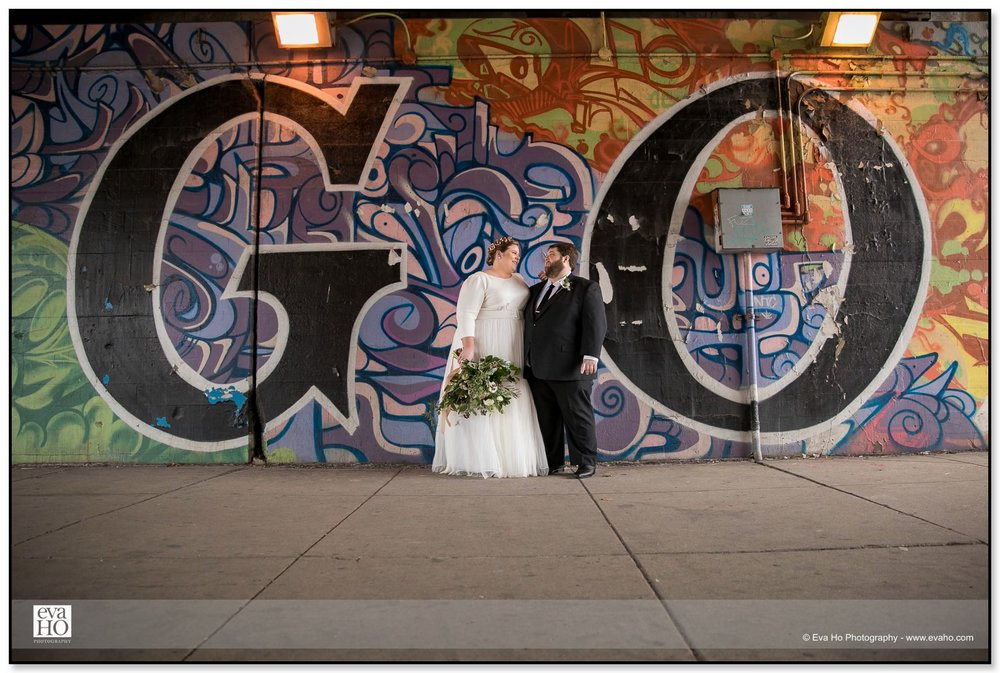 Bride and Groom in front of GO mural in River North