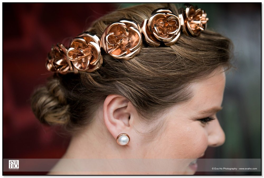 Bride with copper flower wreath detail