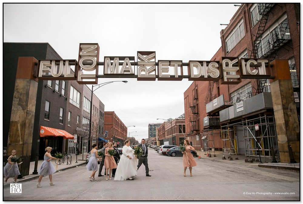 Bridal Party at Fulton Market District in Chicago's West Side District