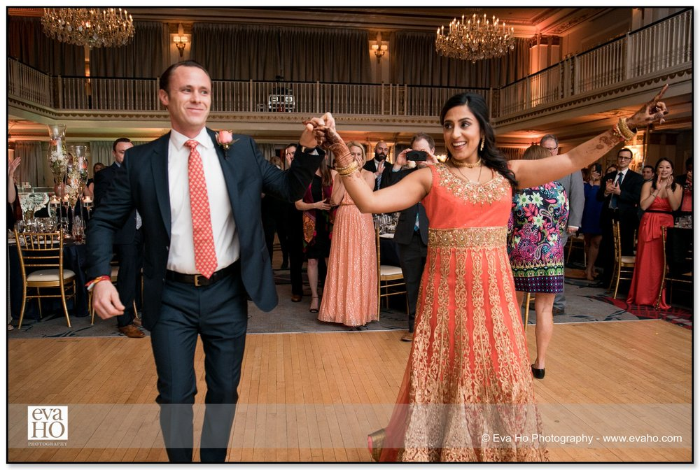 Bride and groom dancing at their Indian fusion wedding in downtown Chicago.