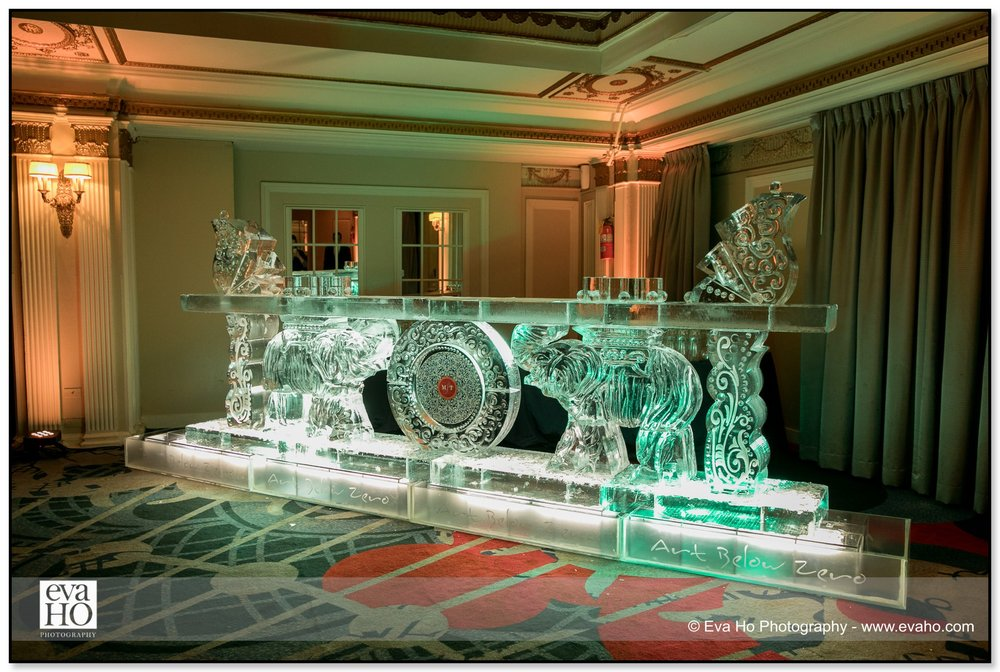 Indian wedding ice Sculpture bar at The Drake hotel in downtown Chicago.