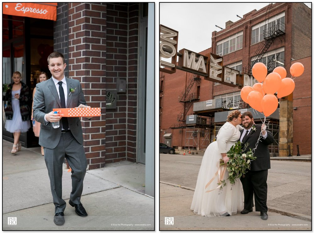 Groomsmen getting Glazed & Infused donuts while bride & groom pose with balloons at Chicago's Fulton Market
