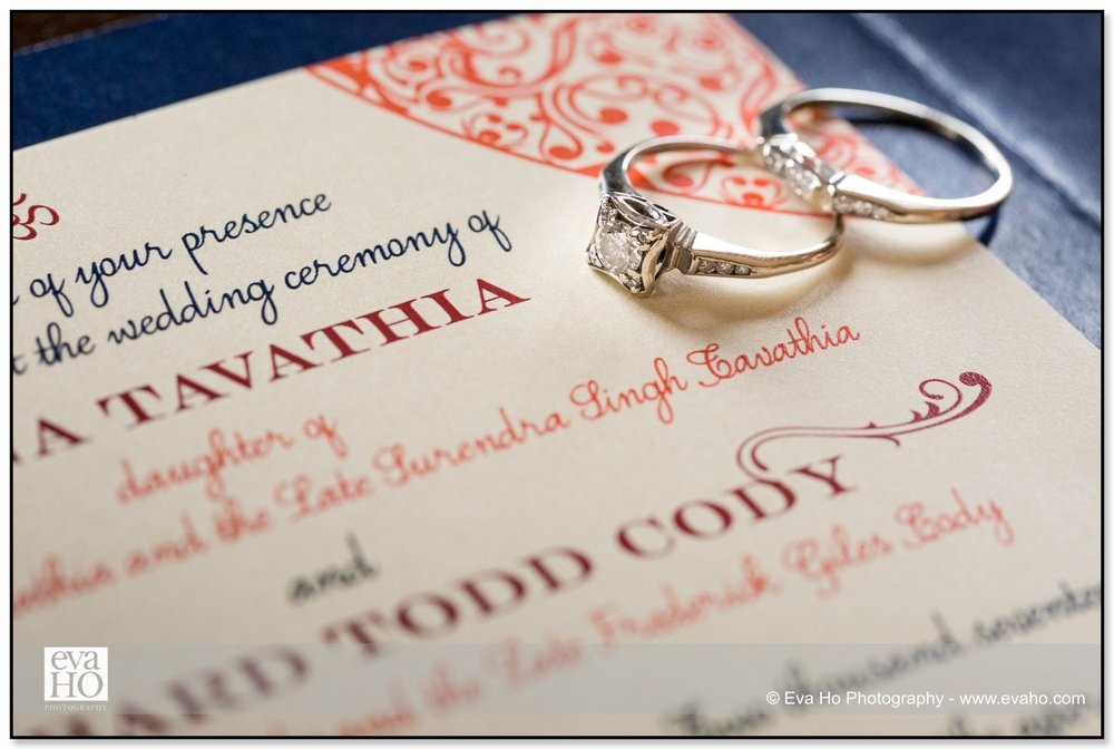 Indian fusion wedding invitation and ring shot