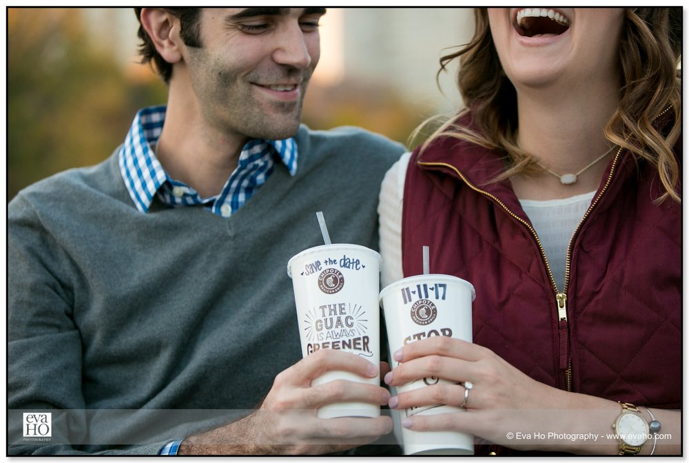Save the date engagement photos with Chipotle cups in Chicago