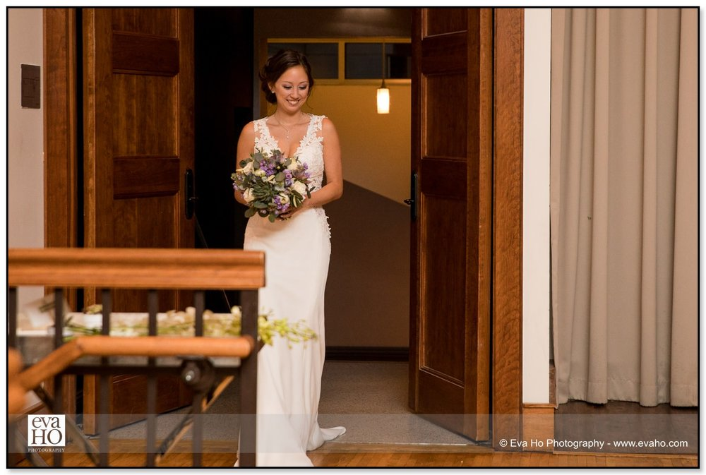 Bride enters the ceremony solo at an Ivy Room wedding