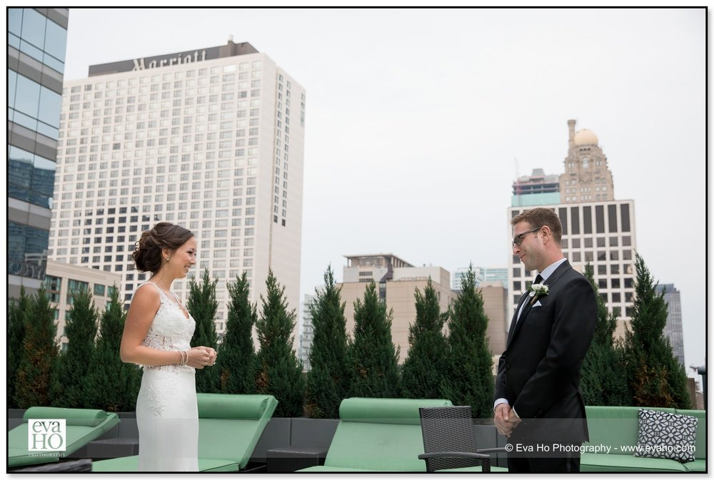 Bride and Groom's first look on the patio of the Hotel Palomar in downtown Chicago
